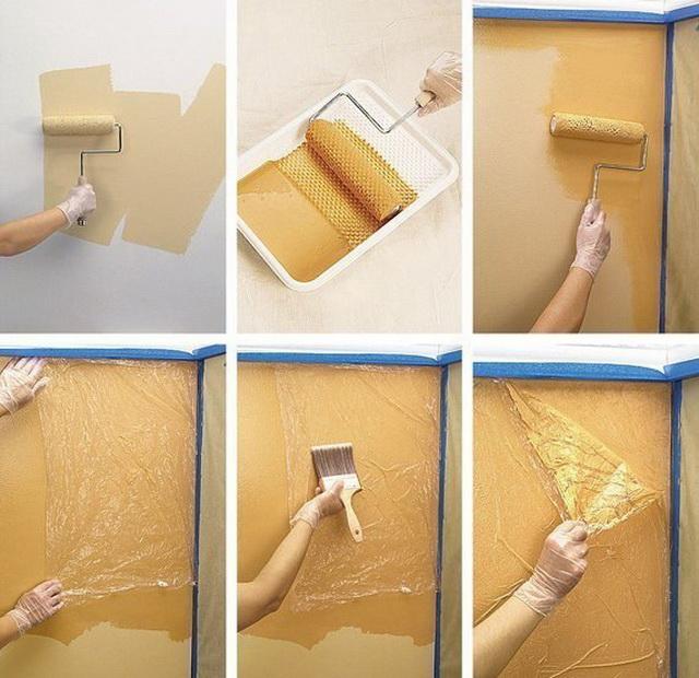 покраска стен клеенка
