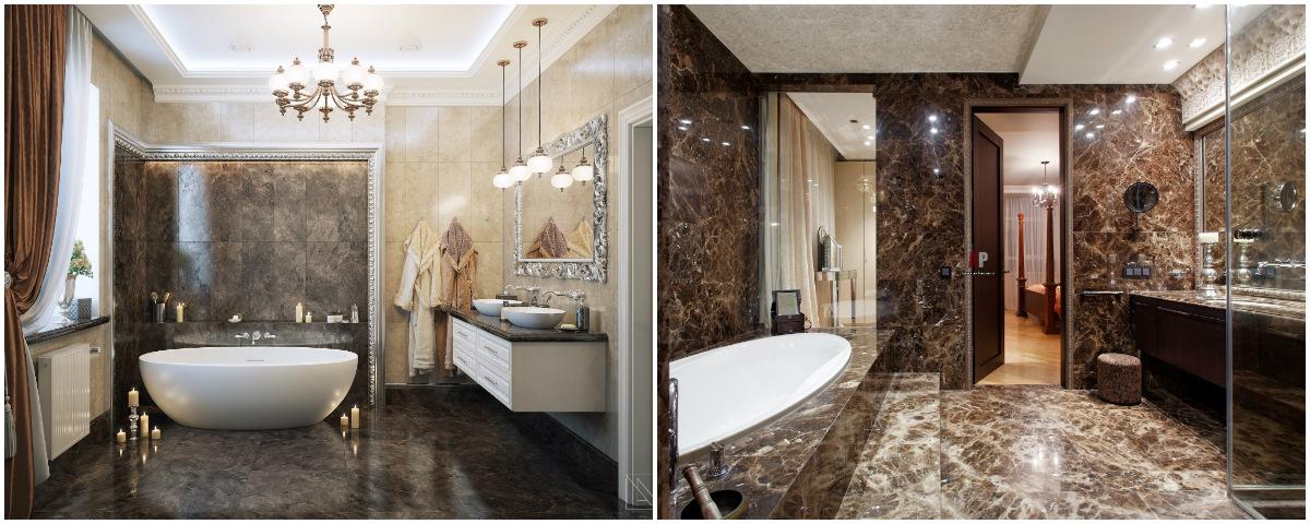 Неоклассика в интерьере ванной фото