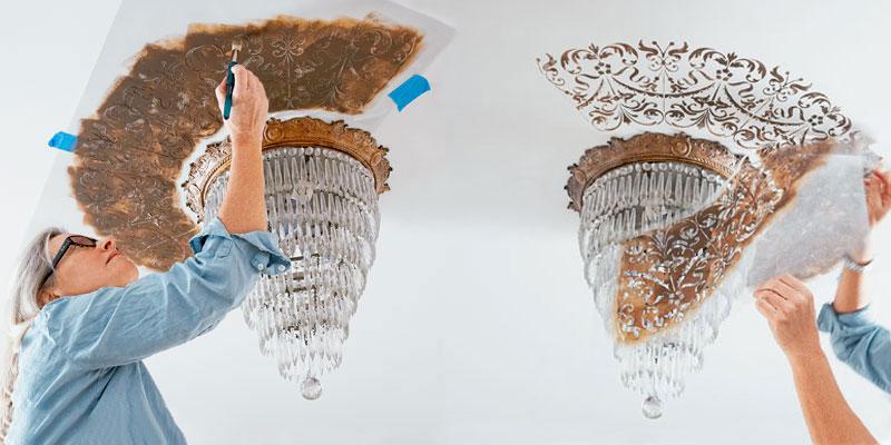 Фарбування стін трафаретом
