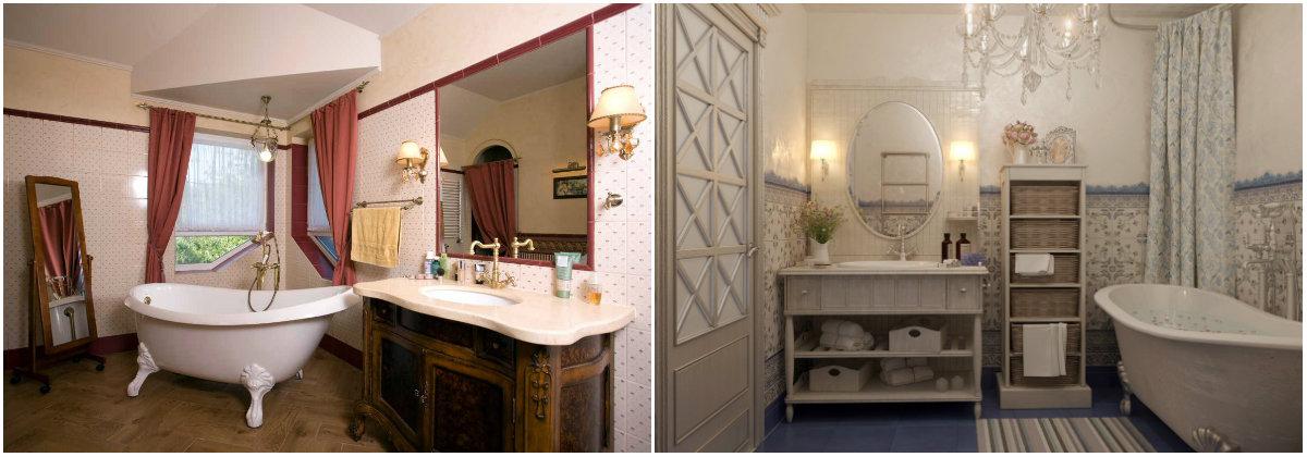 ванные комнаты в стиле кантри