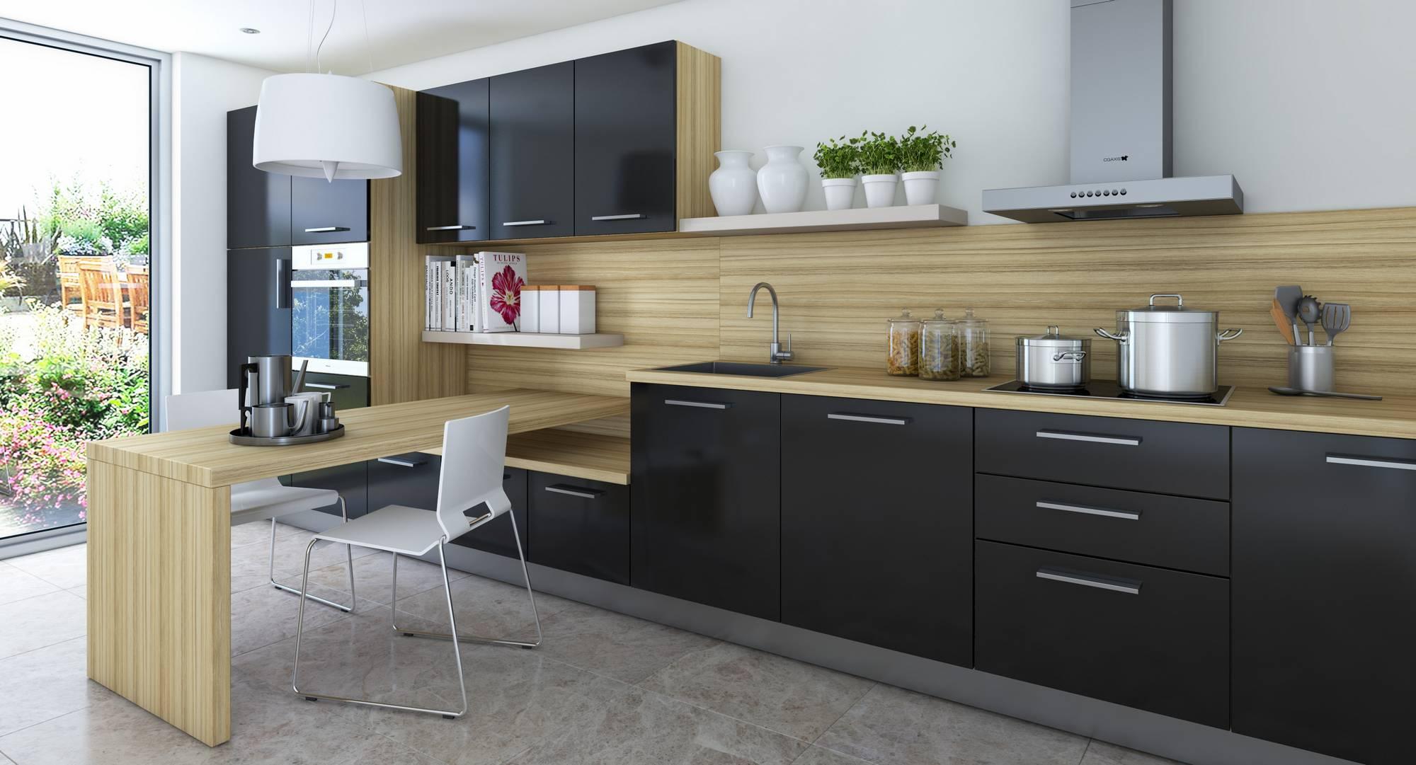 Черный цвет в интерьере кухни