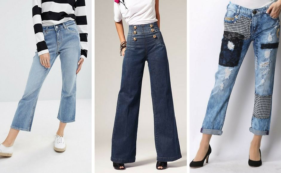 Укороченные джинсы-клеш, широкие и печворк на джинсах