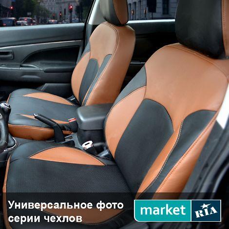 Авточехлы Союз-Авто Elite (Экокожа) (коричневый + черный) для Mitsubishi Outlander 2012-2015: фото - MARKET.RIA