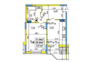 Продается 1-комнатная квартира 54.94 кв. м в Черкассах