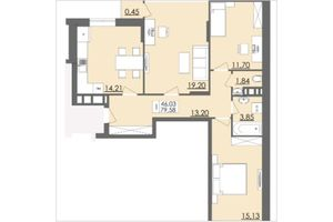 Продается 3-комнатная квартира 79.58 кв. м в Черновцах
