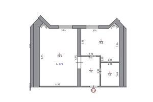 Продається 1-кімнатна квартира 70.8 кв. м у Херсоні