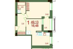 Продається 1-кімнатна квартира 49.13 кв. м у Херсоні