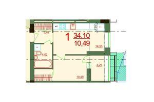 Продається 1-кімнатна квартира 34.1 кв. м у Херсоні