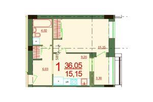 Продається 1-кімнатна квартира 36.05 кв. м у Херсоні