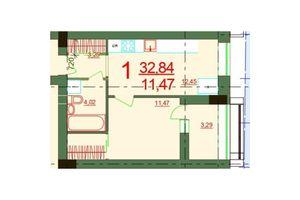 Продається 1-кімнатна квартира 32.84 кв. м у Херсоні