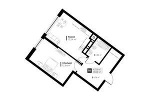 Продається 1-кімнатна квартира 43.13 кв. м у Львові