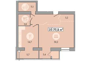 Продается 1-комнатная квартира 77.5 кв. м в Днепре