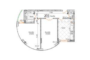 Продается 2-комнатная квартира 72.8 кв. м в Черновцах