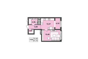Продается 1-комнатная квартира 41.73 кв. м в Черновцах