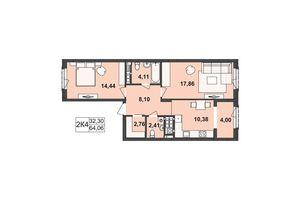 Продается 2-комнатная квартира 64.06 кв. м в Черновцах