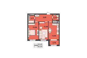 Продается 2-комнатная квартира 60.89 кв. м в Черновцах