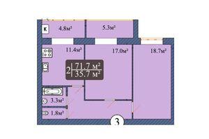 Продается 2-комнатная квартира 73.5 кв. м в Чернигове