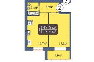 Продается 1-комнатная квартира 49 кв. м в Чернигове