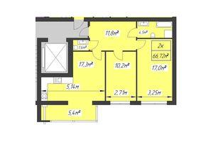 Продается 2-комнатная квартира 66.72 кв. м в Ивано-Франковске