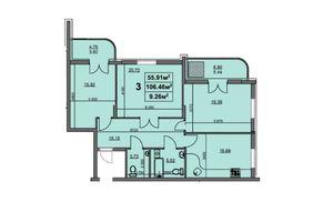 Продается 3-комнатная квартира 106.02 кв. м в Черкассах