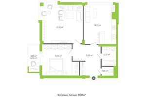 Продается 2-комнатная квартира 79.95 кв. м в Луцке