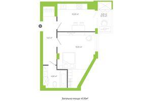 Продается 1-комнатная квартира 41.1 кв. м в Луцке