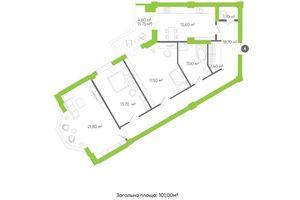 Продается 3-комнатная квартира 104.7 кв. м в Луцке