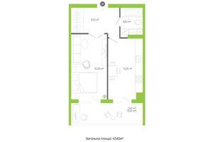 Продается 1-комнатная квартира 51.6 кв. м в Луцке