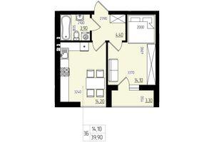 Продается 1-комнатная квартира 39.9 кв. м в Черновцах