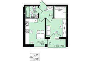 Продается 1-комнатная квартира 37.6 кв. м в Черновцах