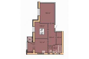 Продається 2-кімнатна квартира 69.3 кв. м у Черкасах