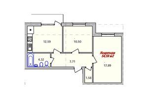 Продается 2-комнатная квартира 54.59 кв. м в Ужгороде