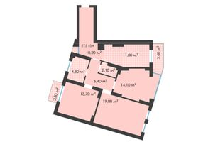 Продается 3-комнатная квартира 87.8 кв. м в Черновцах