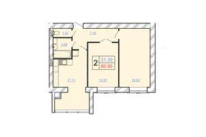 Продается 2-комнатная квартира 60.95 кв. м в Хмельницком