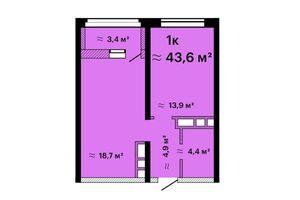 Продається 1-кімнатна квартира 43.6 кв. м у Одесі