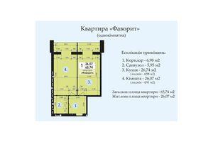 Продається 1-кімнатна квартира 65.74 кв. м у Полтаві