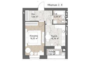 Продається 1-кімнатна квартира 41.38 кв. м у Одесі