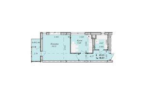 Продается 1-комнатная квартира 43.11 кв. м в Тернополе