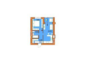 Продається 1-кімнатна квартира 38.52 кв. м у Ірпені