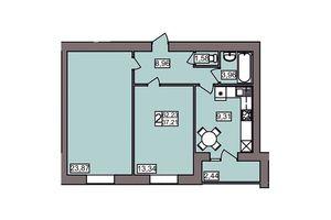 Продается 2-комнатная квартира 62.24 кв. м в Хмельницком