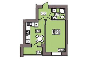 Продается 1-комнатная квартира 34.42 кв. м в Хмельницком