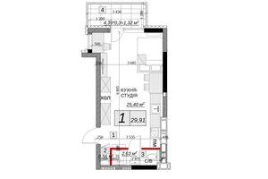 Продается 1-комнатная квартира 29.91 кв. м в Каменце-Подольском