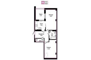 Продается 2-комнатная квартира 61.64 кв. м в Ирпене