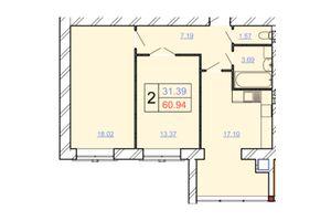 Продается 2-комнатная квартира 60.94 кв. м в Хмельницком