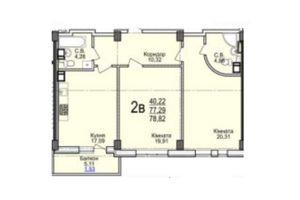 Продается 2-комнатная квартира 78.82 кв. м в Черкассах