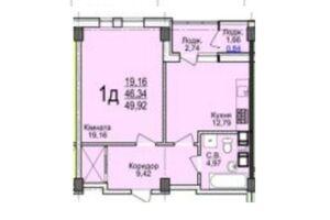 Продається 1-кімнатна квартира 49.92 кв. м у Черкасах