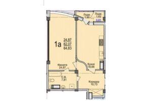 Продається 1-кімнатна квартира 64.83 кв. м у Черкасах