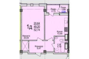 Продается 1-комнатная квартира 52.74 кв. м в Черкассах