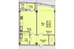 Продается 1-комнатная квартира 55.35 кв. м в Черкассах