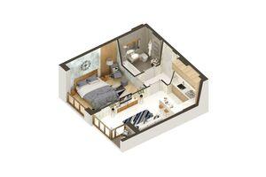 Продается 1-комнатная квартира 39.04 кв. м в Ирпене